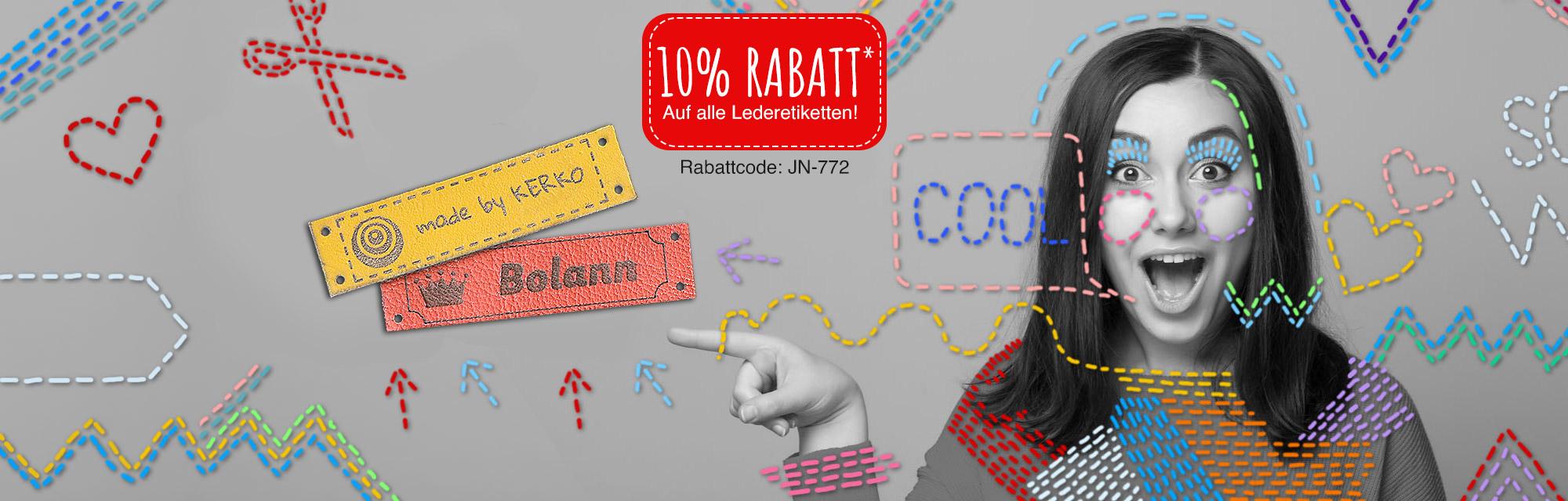 10 % Rabatt* auf alle Lederetiketten mit Deinem Design